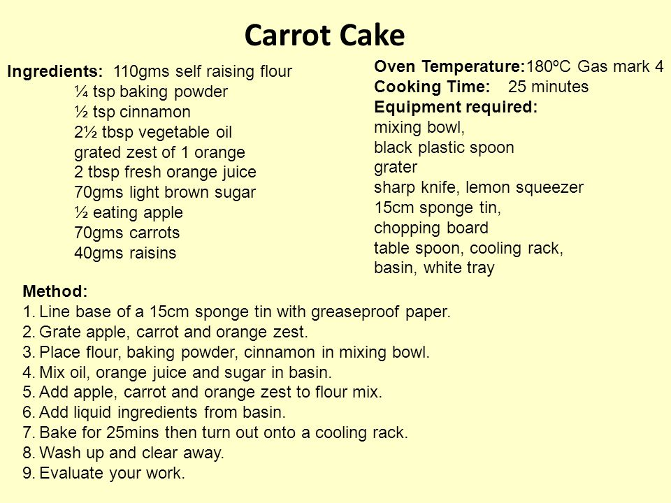 Carrot Cake Oven Temperature:180ºC Gas mark 4