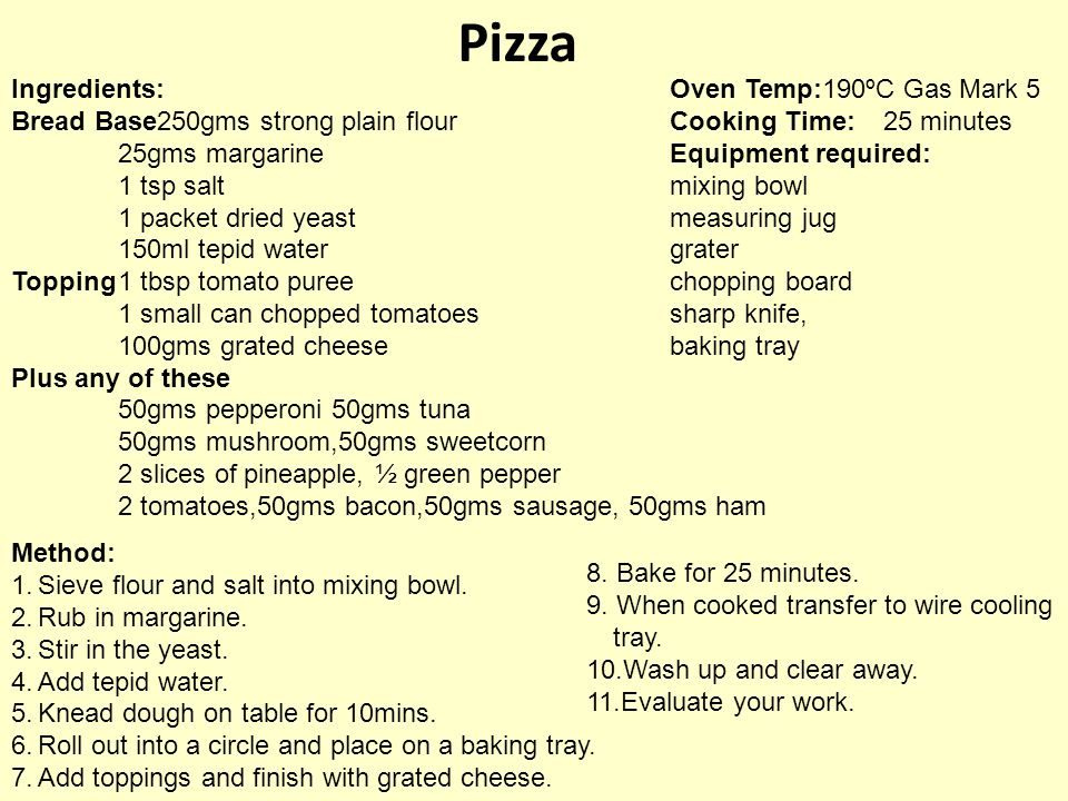 Pizza Ingredients: Bread Base250gms strong plain flour 25gms margarine