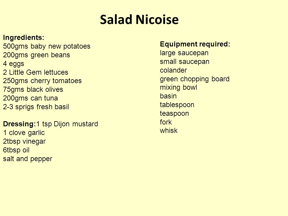 Salad Nicoise Ingredients: 500gms baby new potatoes