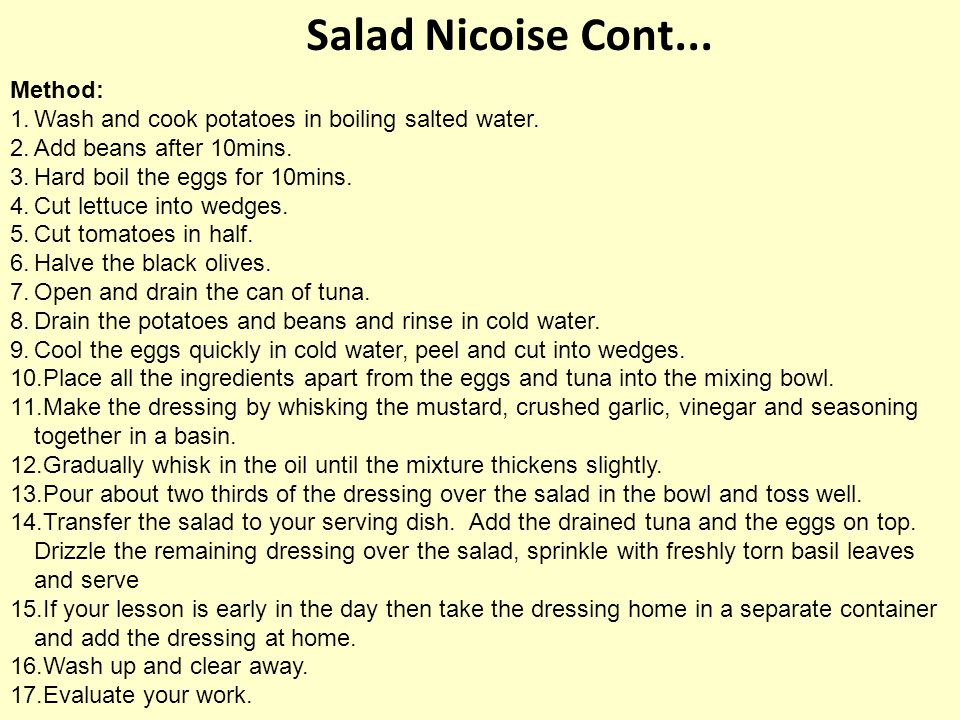 Salad Nicoise Cont... Method: