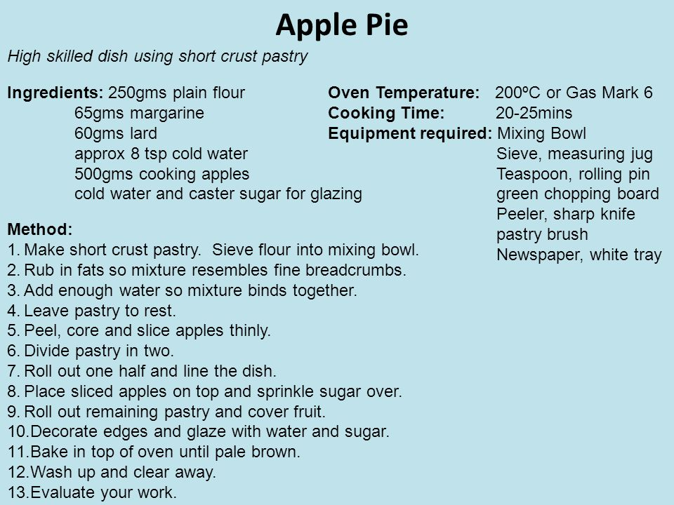 Apple Pie High skilled dish using short crust pastry