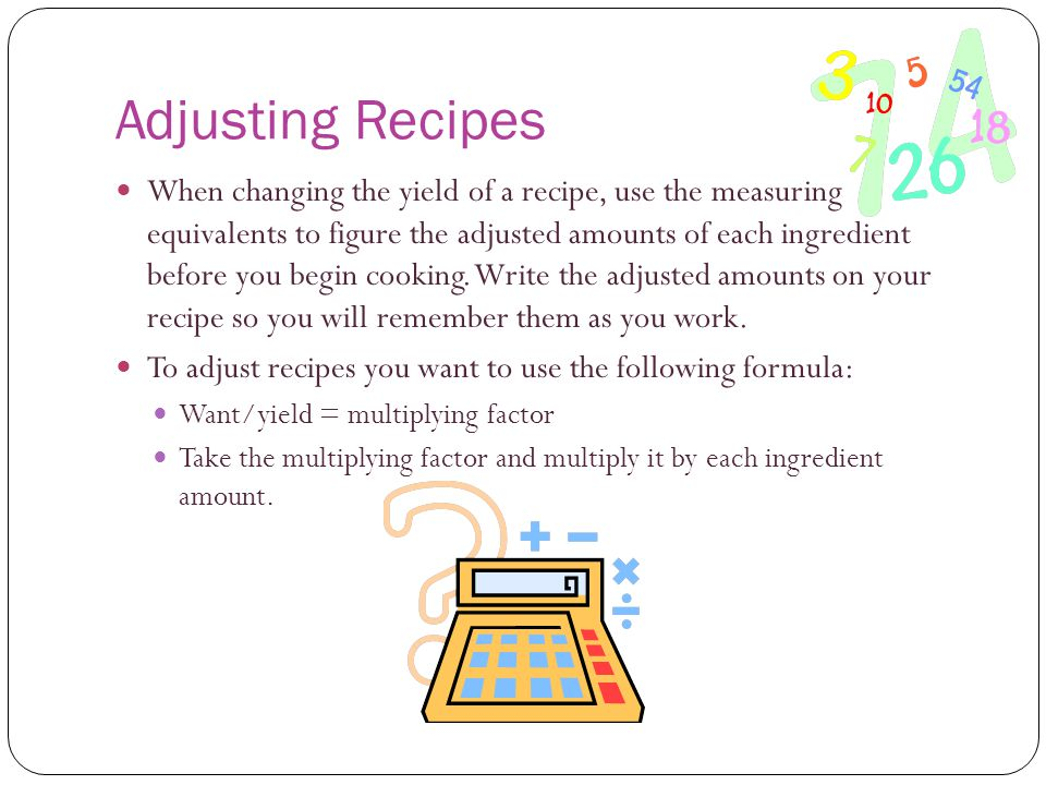 Adjusting Recipes