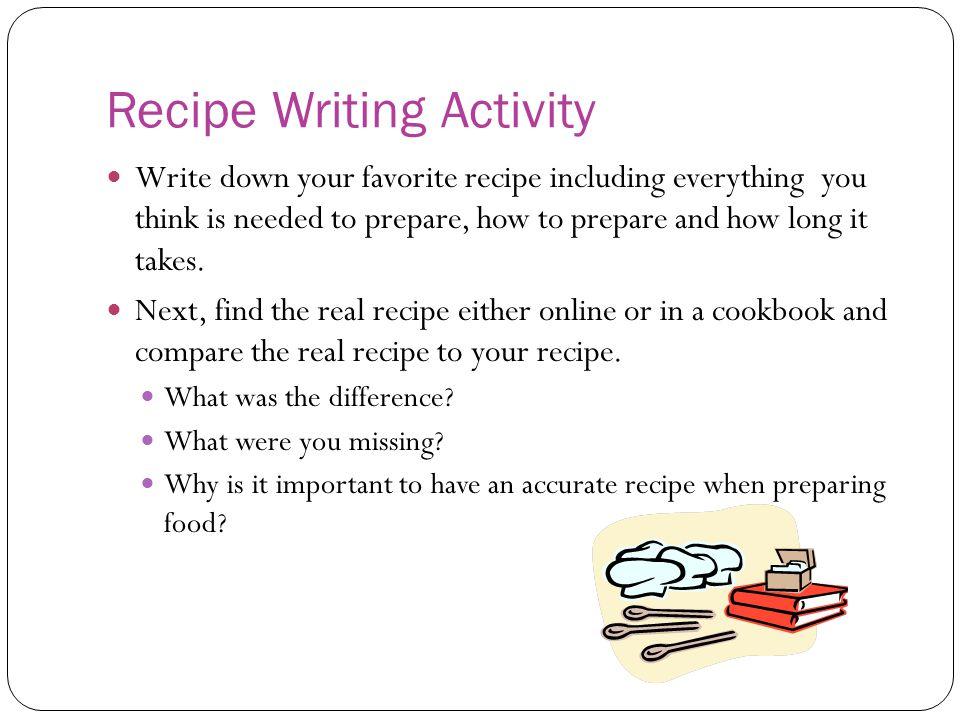 Recipe Writing Activity