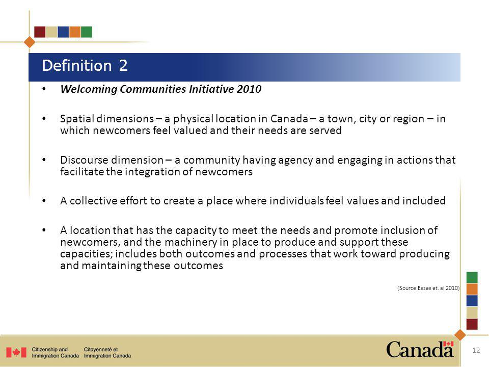 Definition 2 Welcoming Communities Initiative 2010