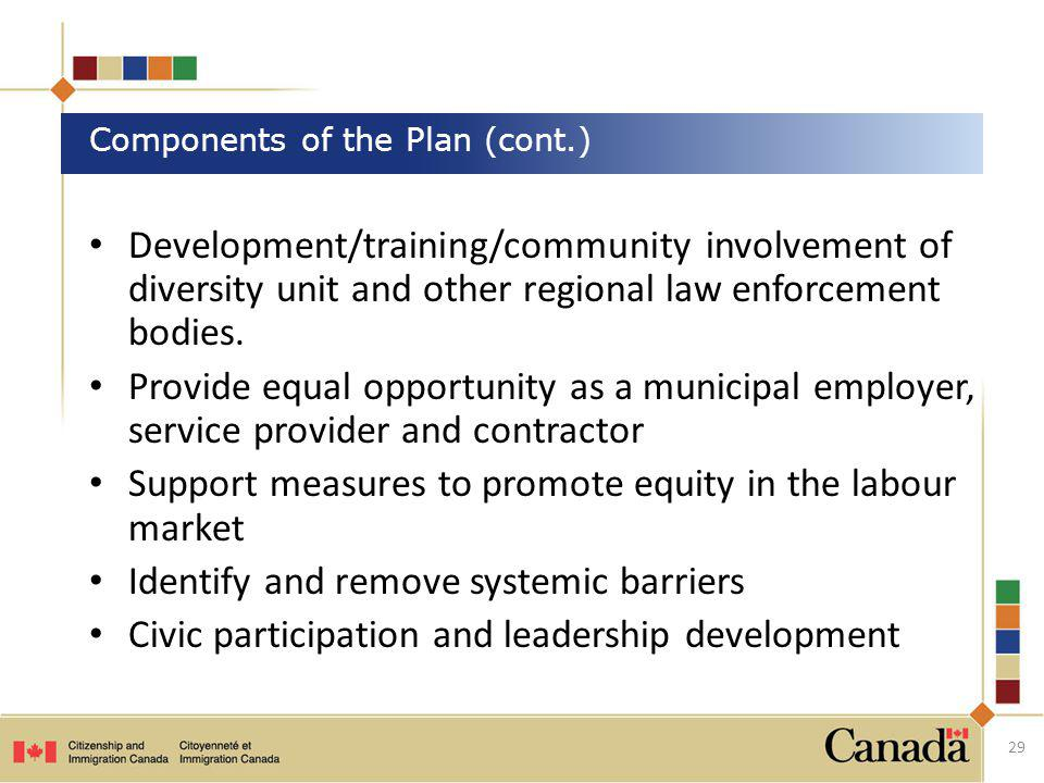 Components of the Plan (cont.)