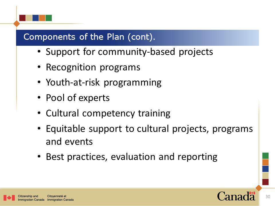 Components of the Plan (cont).