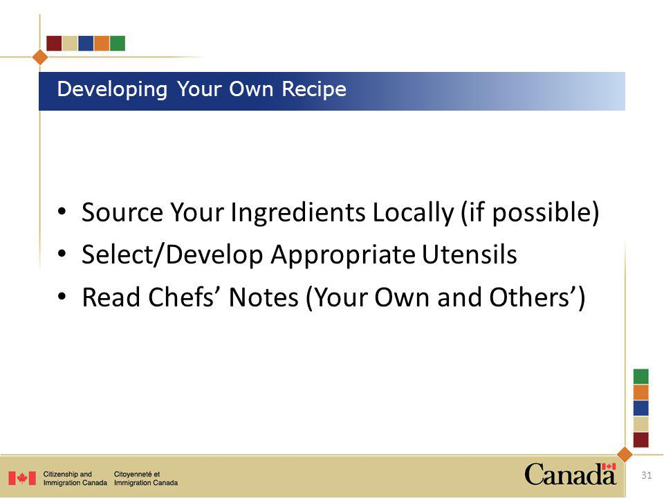 Developing Your Own Recipe