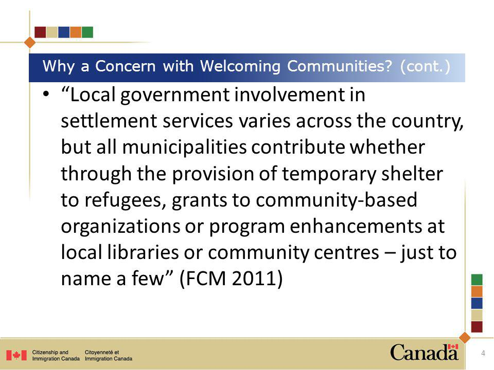 Why a Concern with Welcoming Communities (cont.)