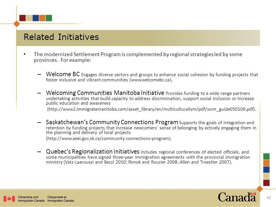 Related Initiatives The modernized Settlement Program is complemented by regional strategies led by some provinces. For example: