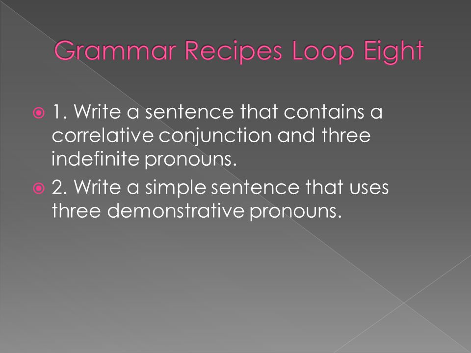 Grammar Recipes Loop Eight