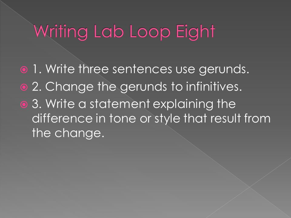 Writing Lab Loop Eight 1. Write three sentences use gerunds.