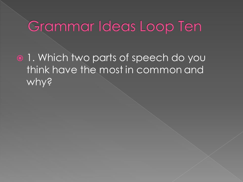 Grammar Ideas Loop Ten 1. Which two parts of speech do you think have the most in common and why