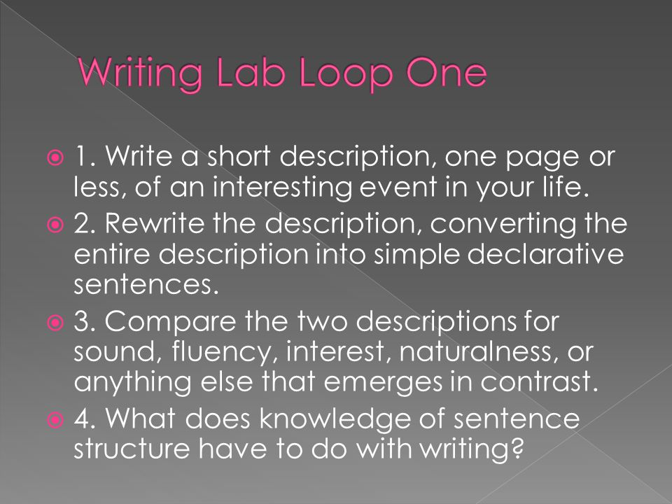 Writing Lab Loop One 1. Write a short description, one page or less, of an interesting event in your life.