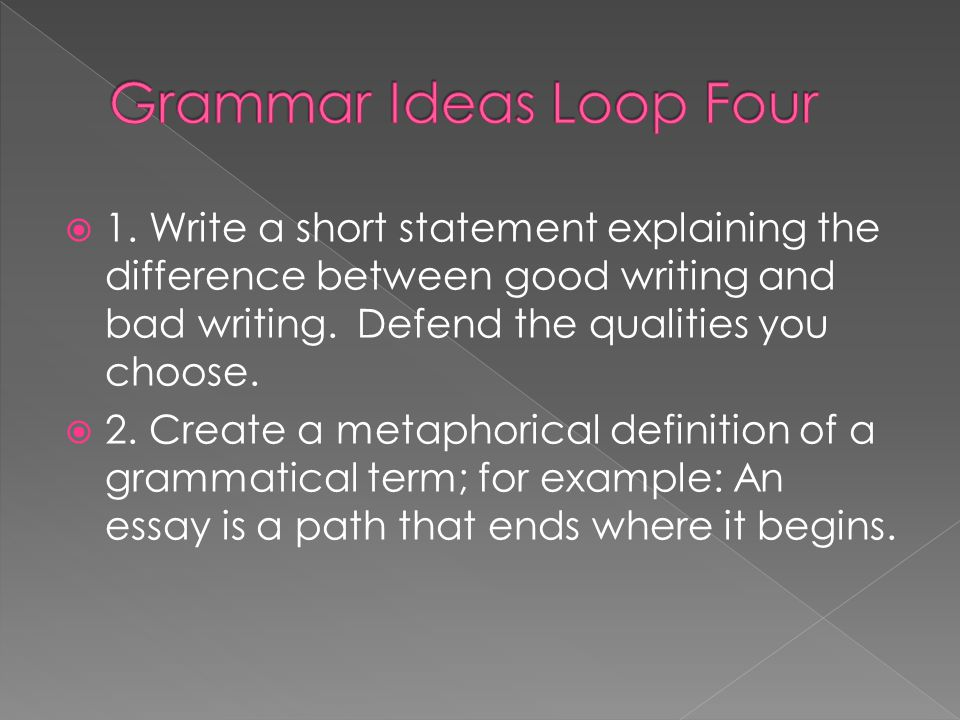 Grammar Ideas Loop Four