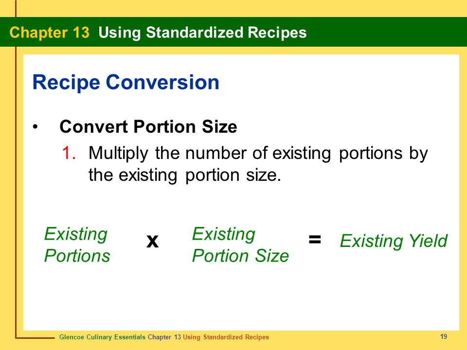 x = Recipe Conversion Convert Portion Size