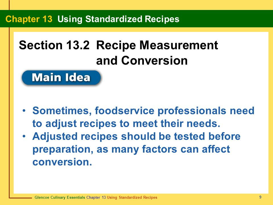 Section 13.2 Recipe Measurement and Conversion