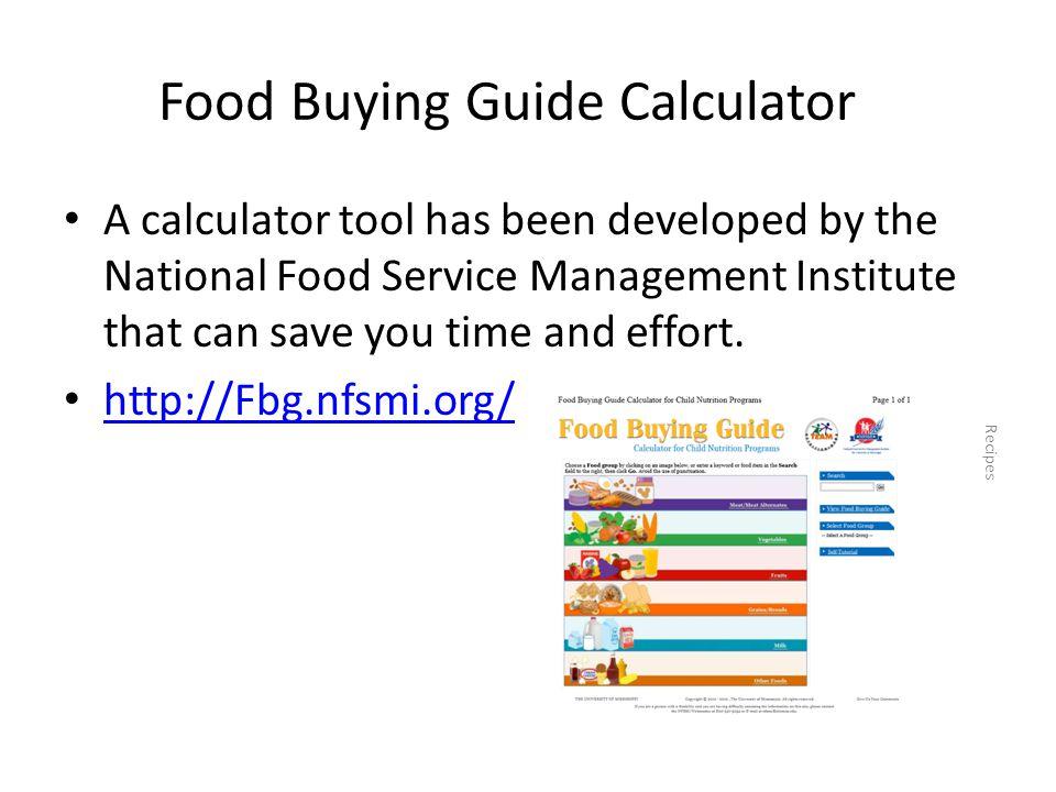 Food Buying Guide Calculator