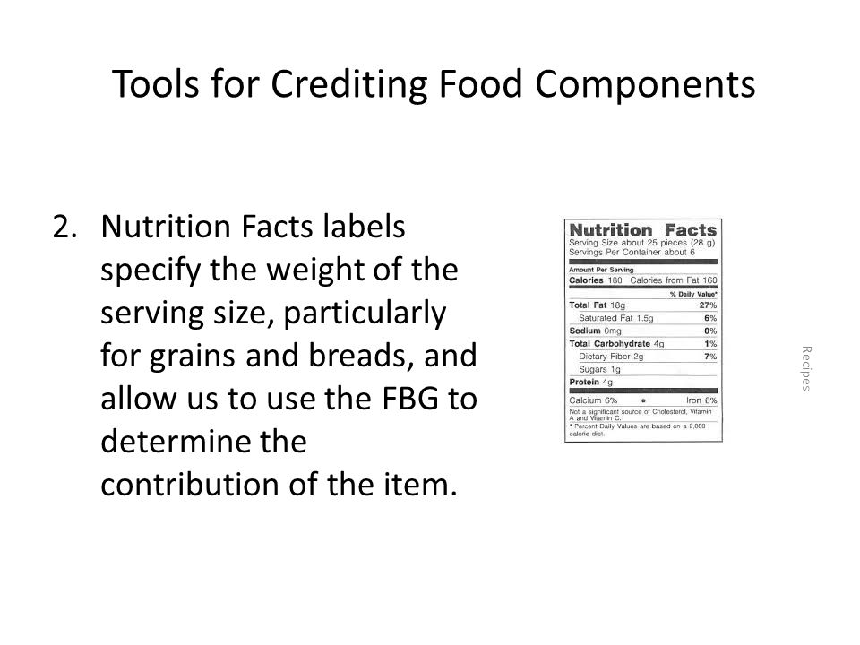 Tools for Crediting Food Components