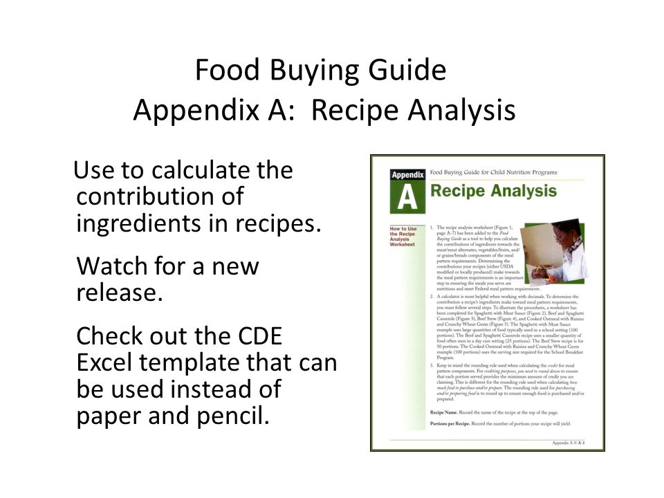 Food Buying Guide Appendix A: Recipe Analysis