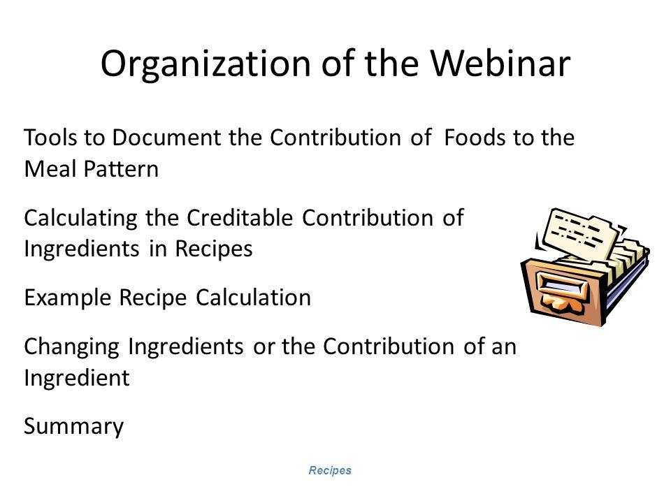 Organization of the Webinar