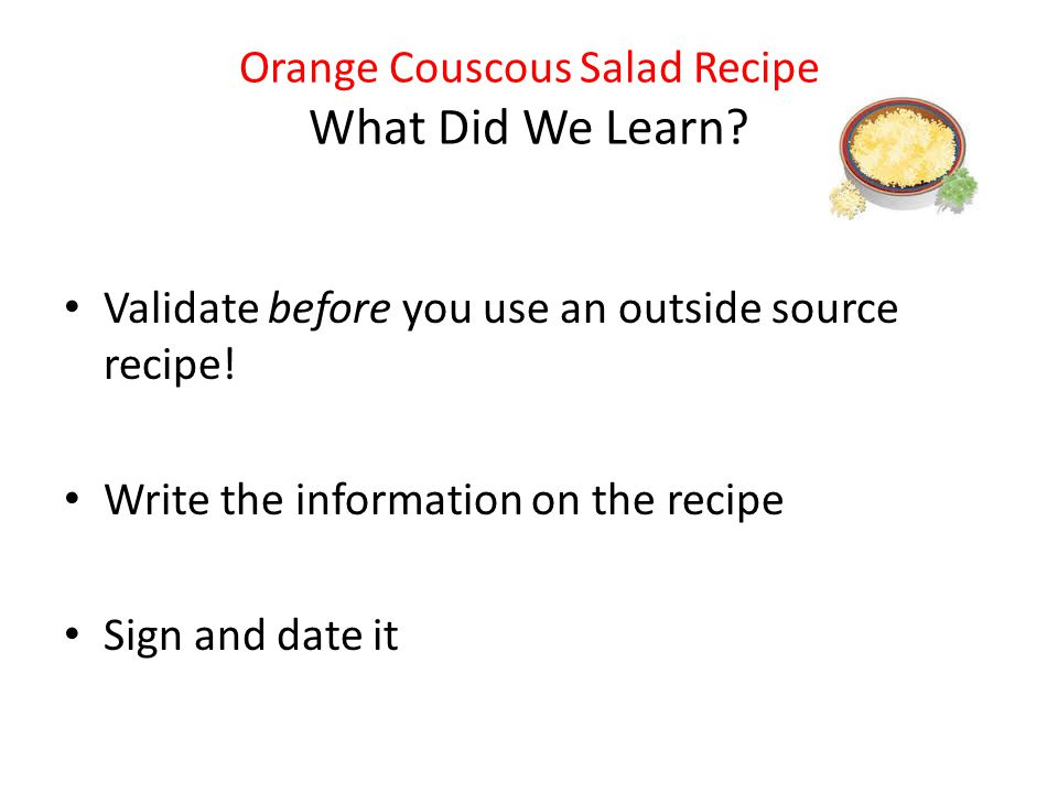 Orange Couscous Salad Recipe What Did We Learn