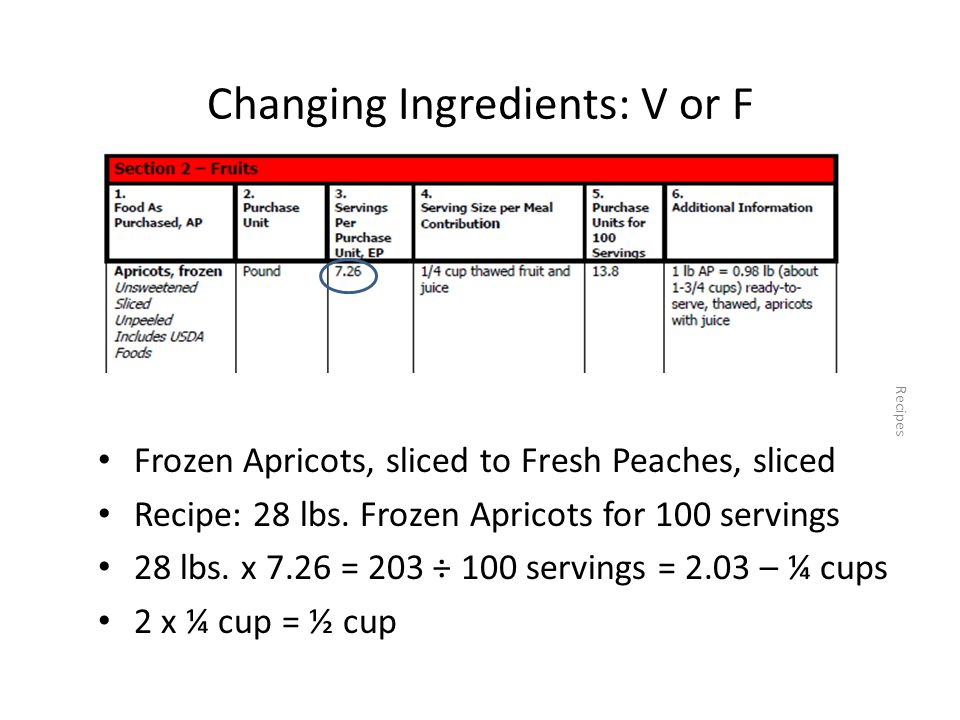 Changing Ingredients: V or F