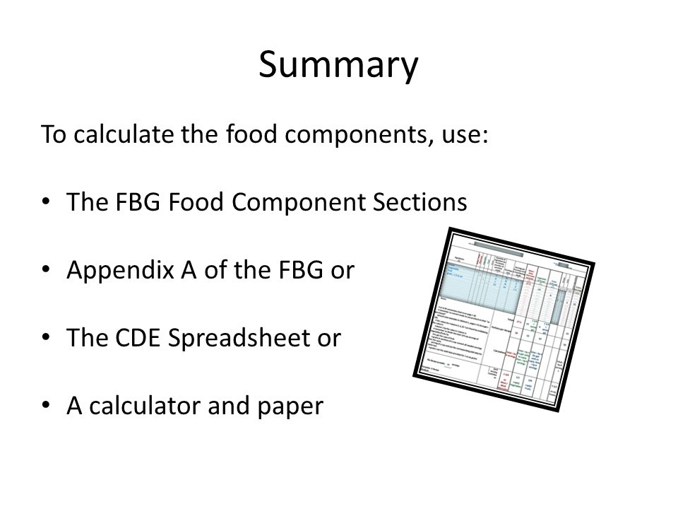 Summary To calculate the food components, use: