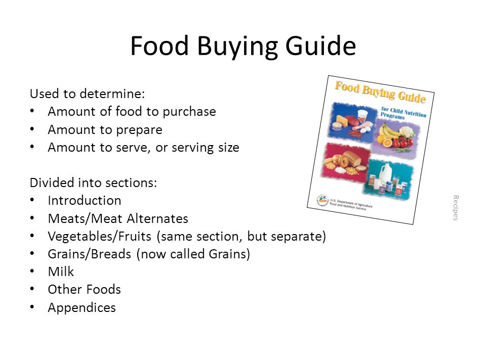 Food Buying Guide Used to determine: Amount of food to purchase