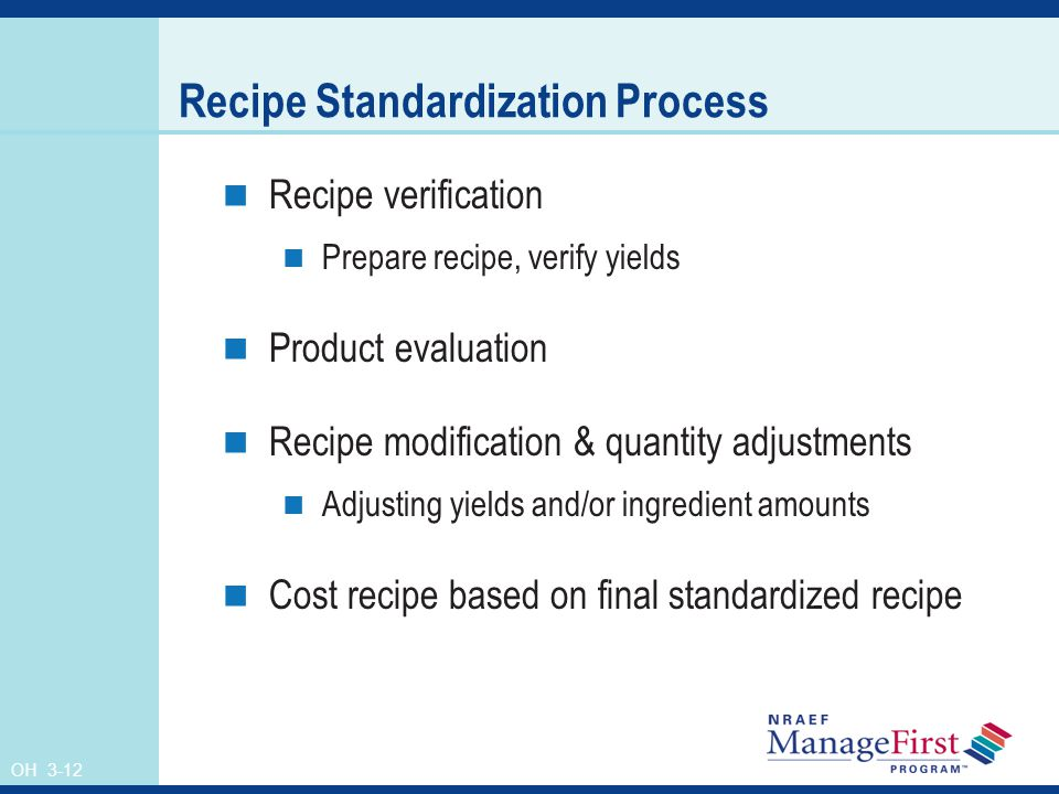 Recipe Standardization Process