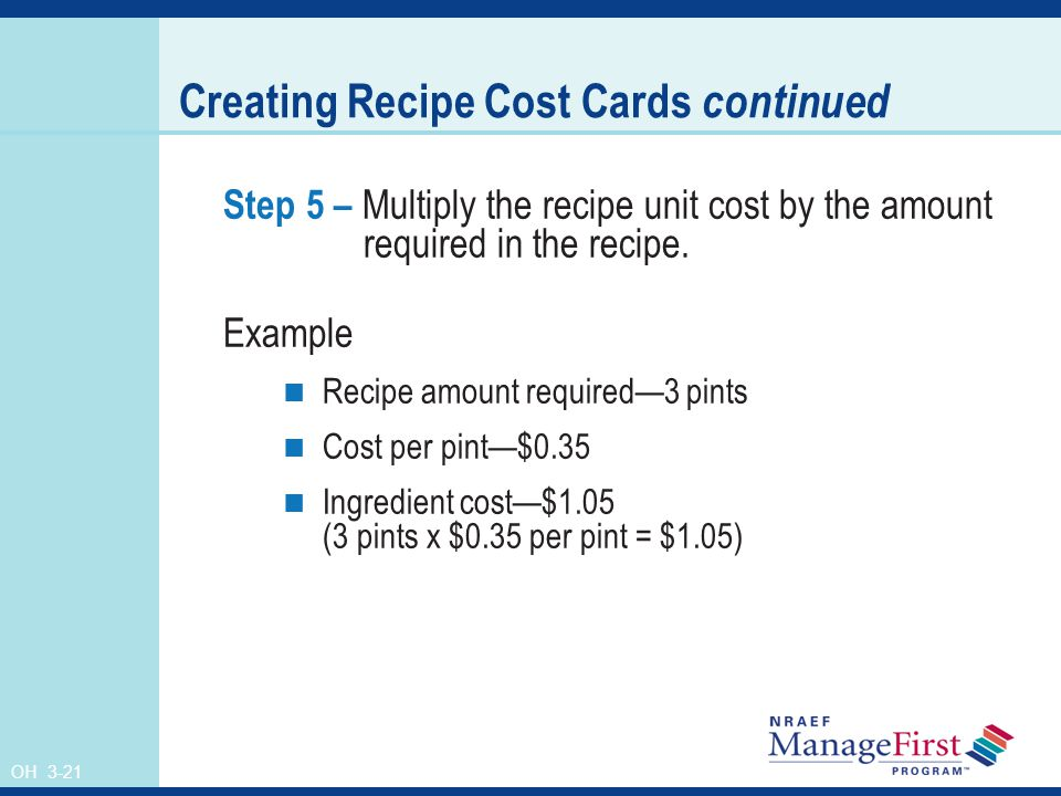 Creating Recipe Cost Cards continued