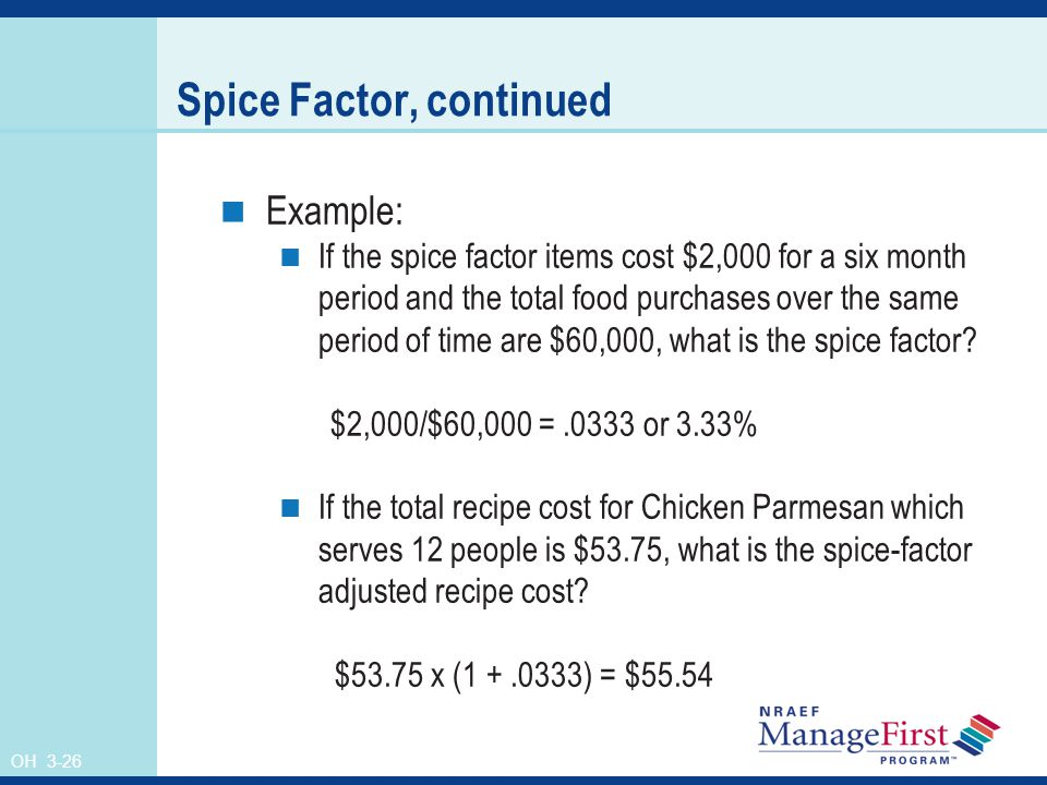 Spice Factor, continued
