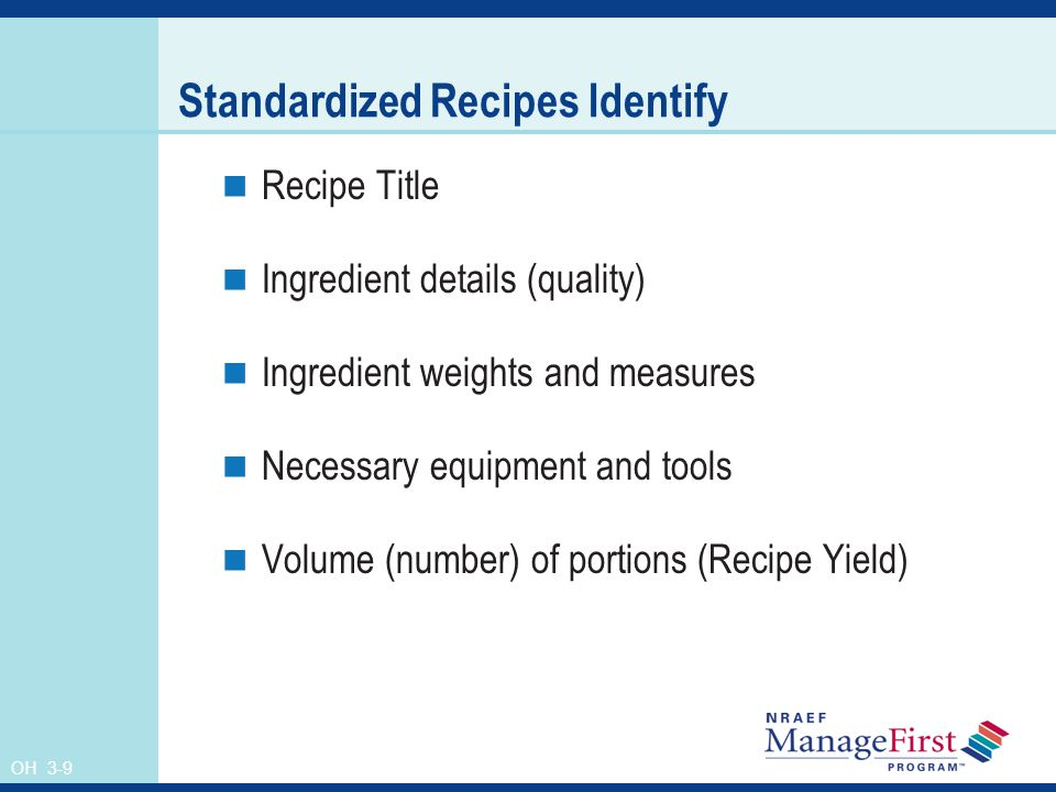 Standardized Recipes Identify