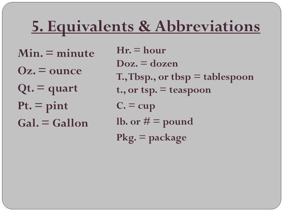 5. Equivalents & Abbreviations