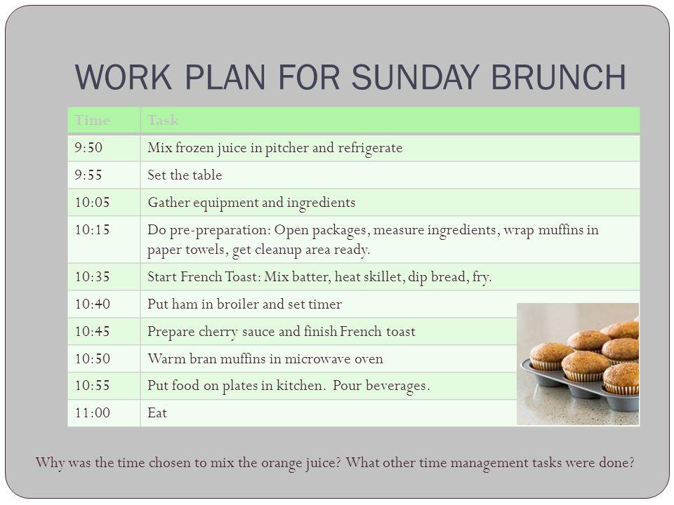 WORK PLAN FOR SUNDAY BRUNCH