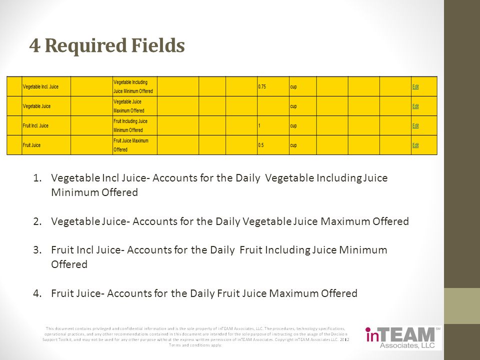 4 Required Fields Vegetable Incl Juice- Accounts for the Daily Vegetable Including Juice Minimum Offered.