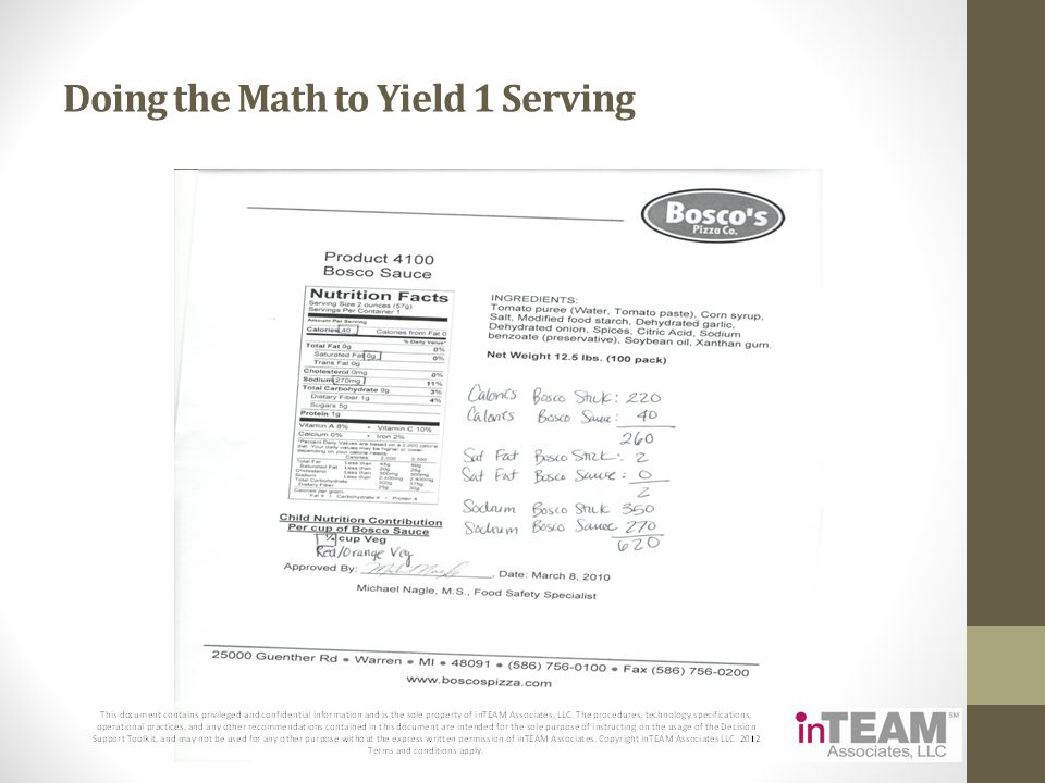 Doing the Math to Yield 1 Serving