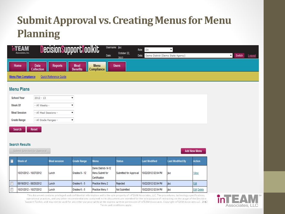 Submit Approval vs. Creating Menus for Menu Planning