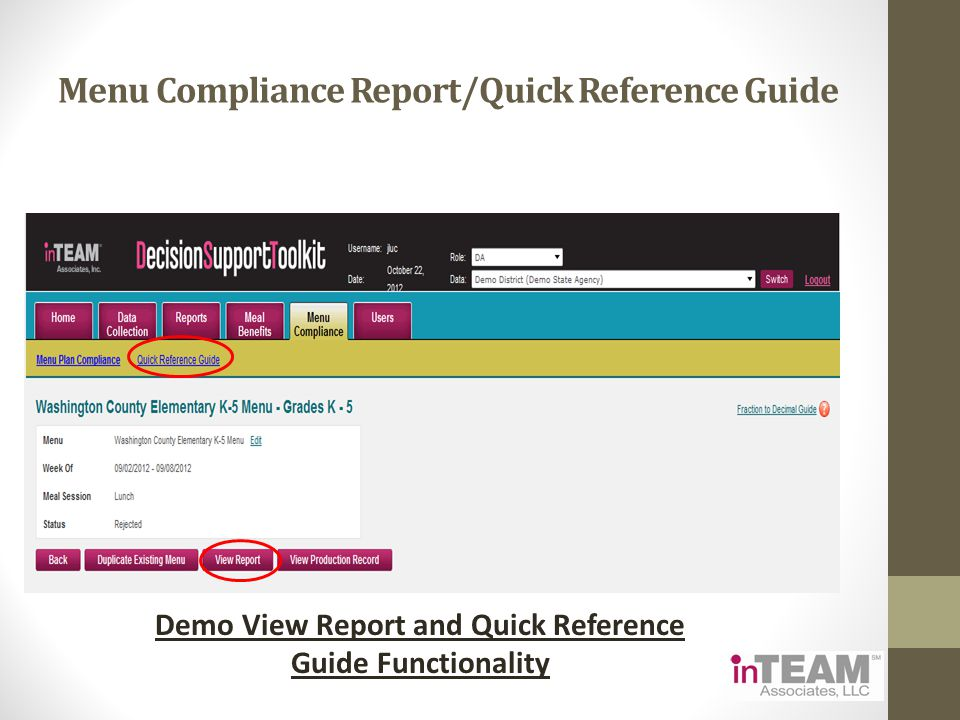 Menu Compliance Report/Quick Reference Guide