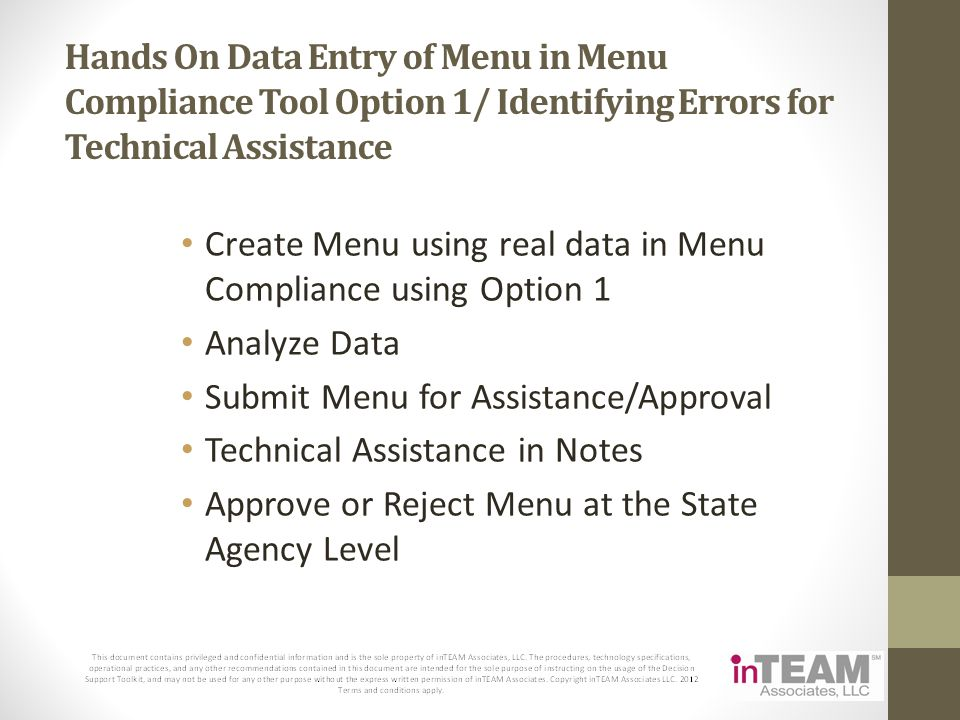 Hands On Data Entry of Menu in Menu Compliance Tool Option 1/ Identifying Errors for Technical Assistance