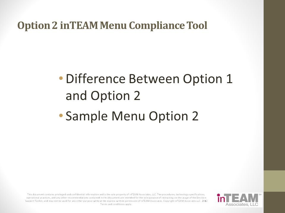 Option 2 inTEAM Menu Compliance Tool