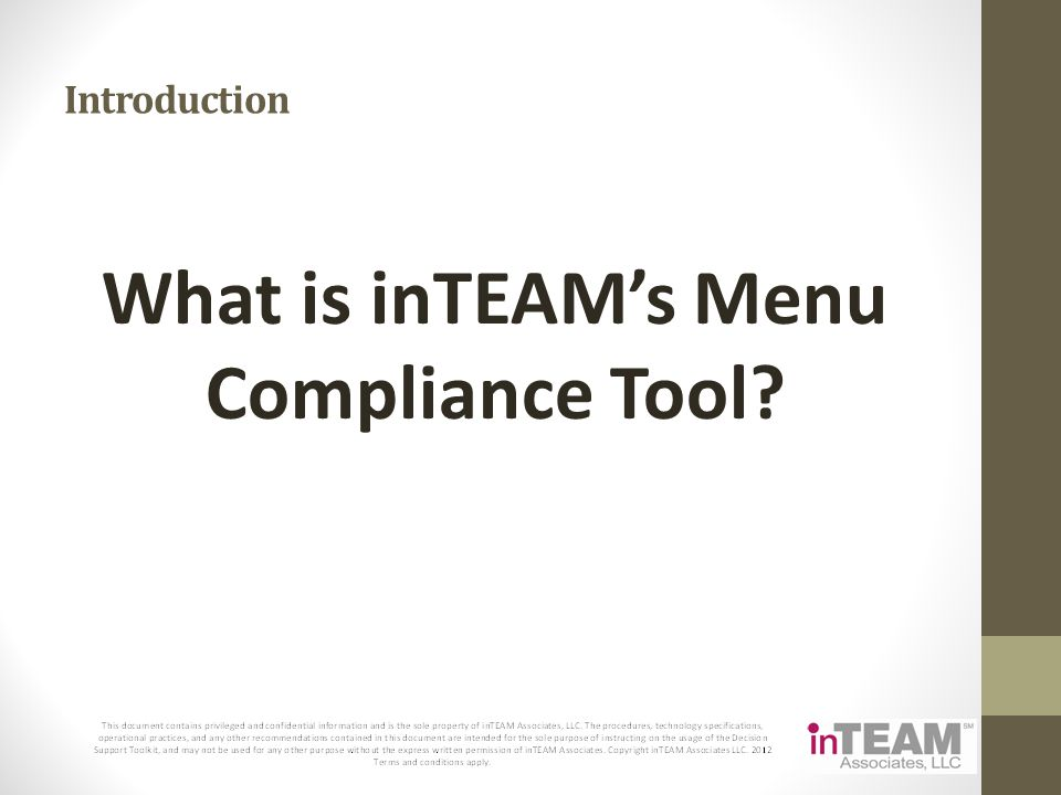What is inTEAM's Menu Compliance Tool