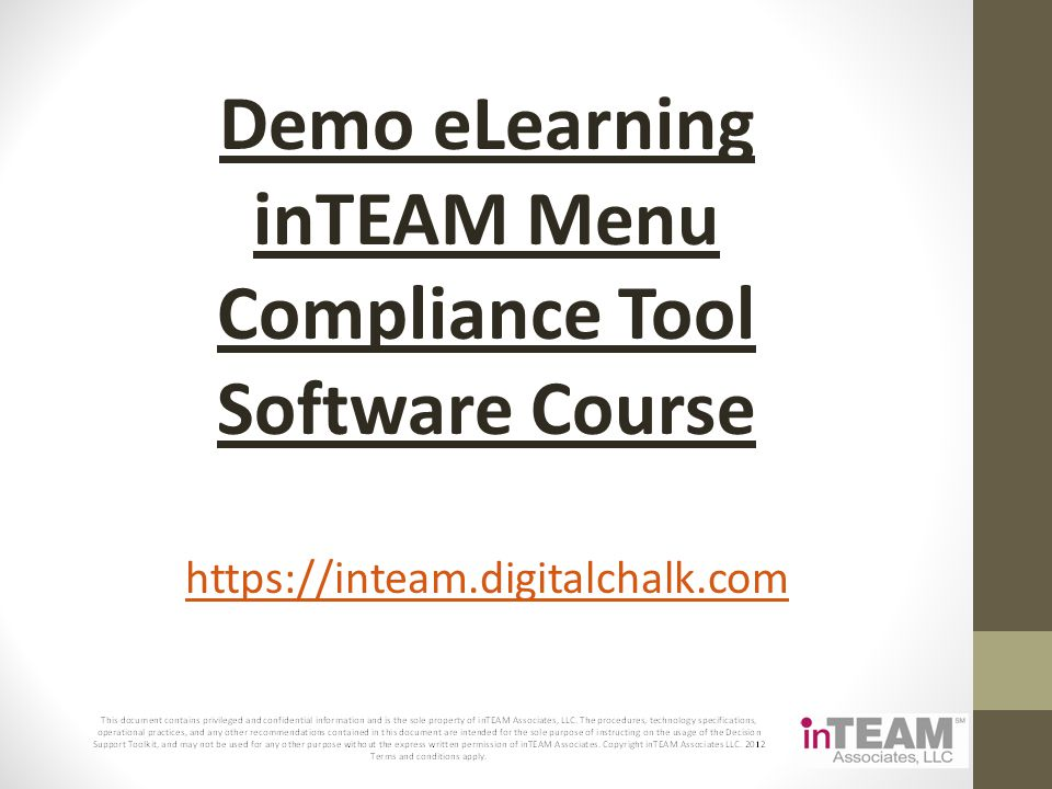 Demo eLearning inTEAM Menu Compliance Tool Software Course