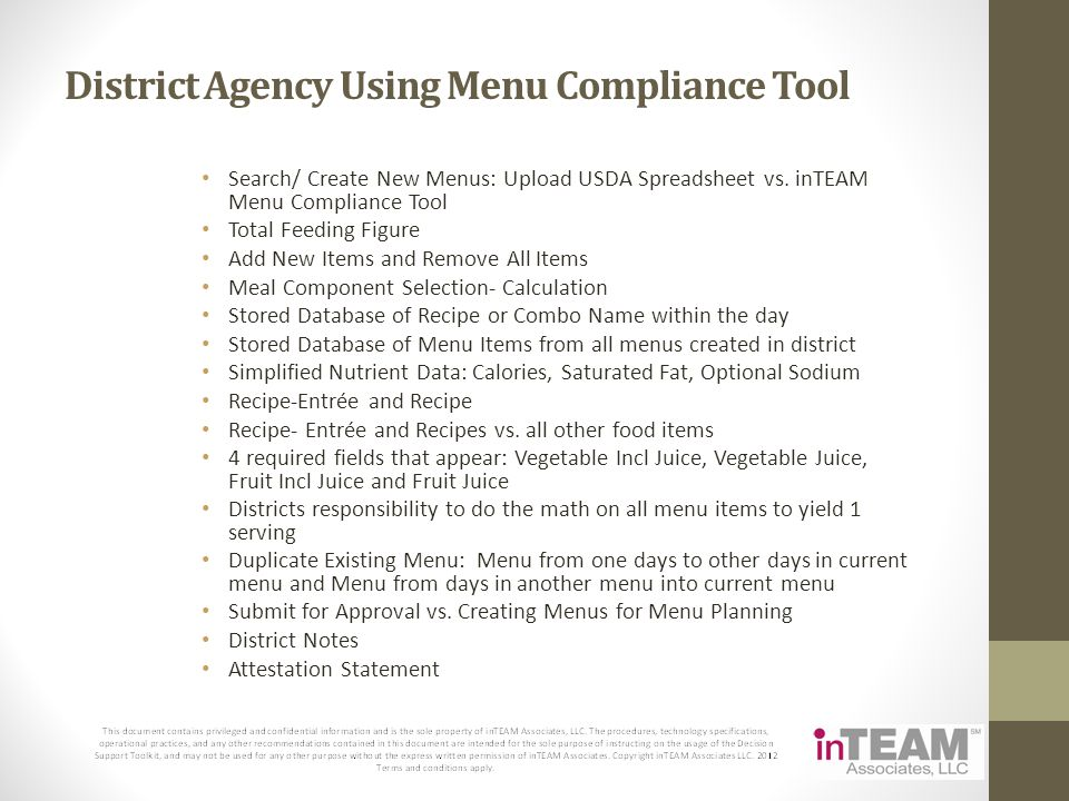 District Agency Using Menu Compliance Tool