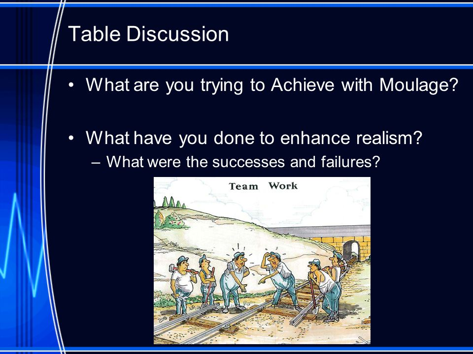 Table Discussion What are you trying to Achieve with Moulage