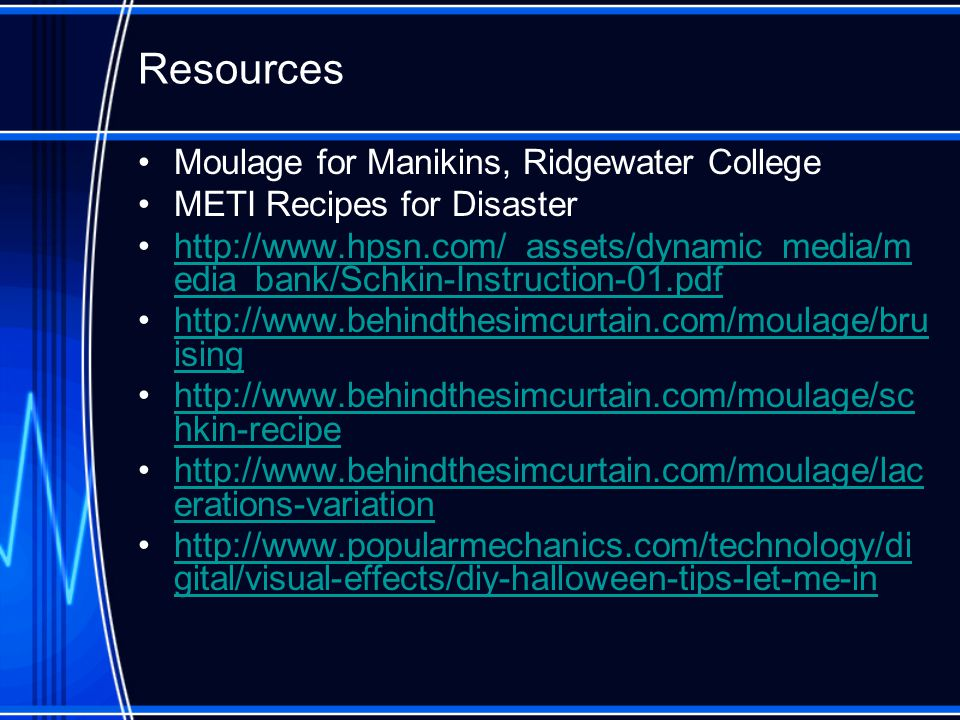 Resources Moulage for Manikins, Ridgewater College