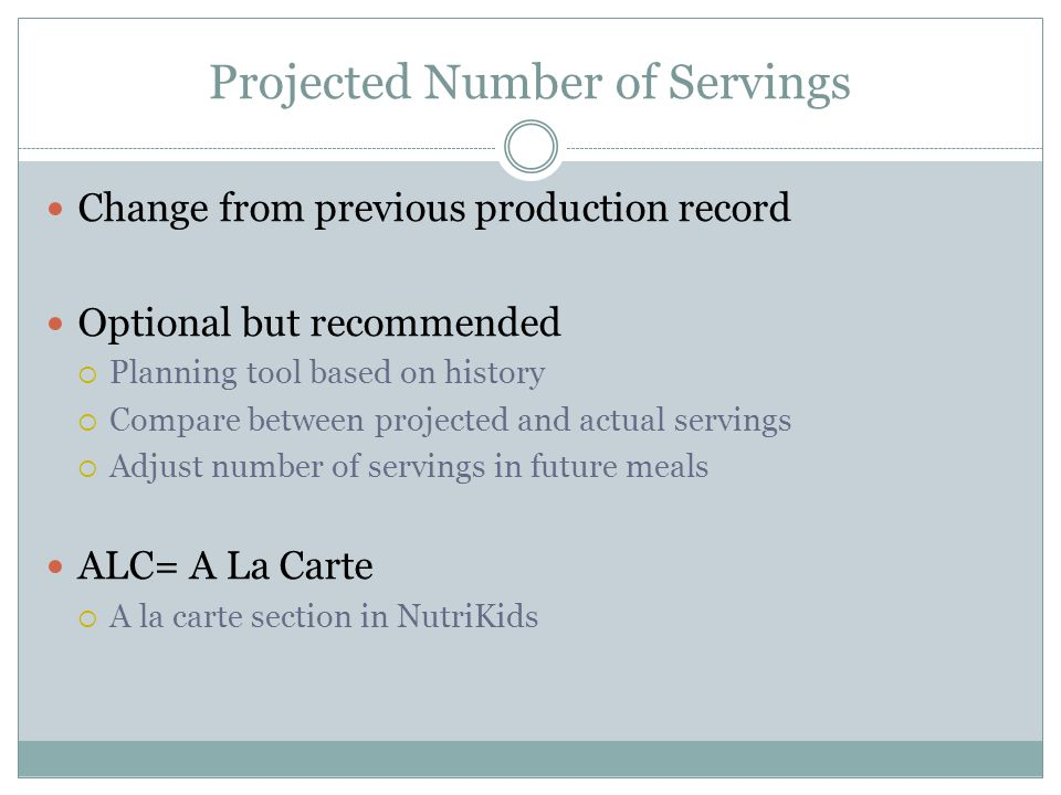 Projected Number of Servings