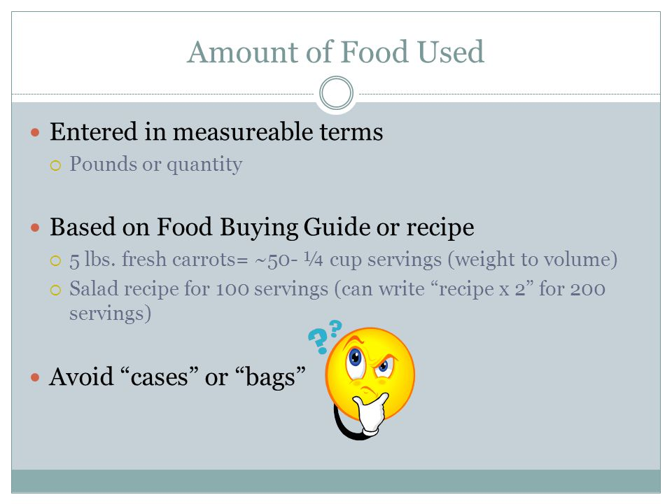 Amount of Food Used Entered in measureable terms
