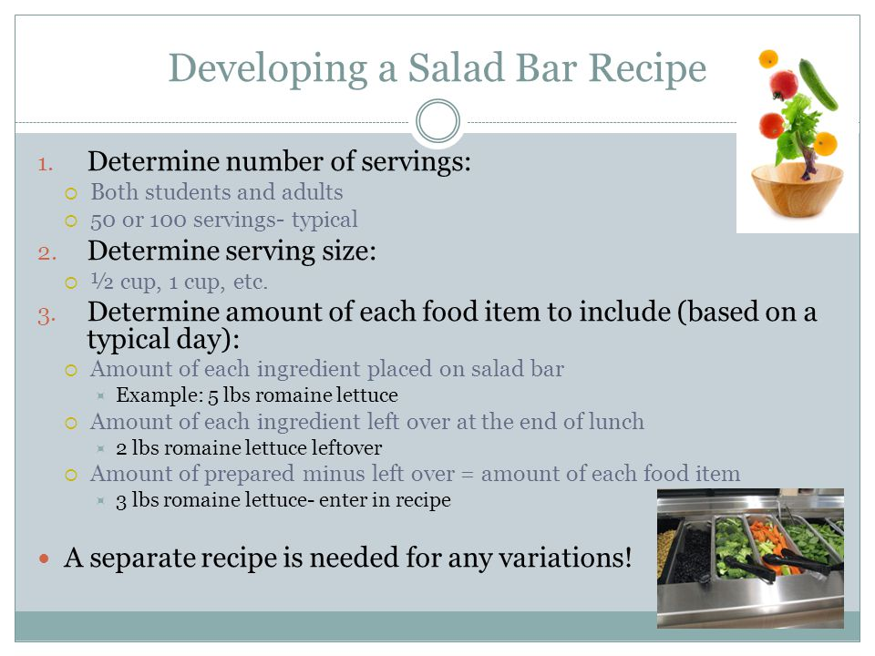 Developing a Salad Bar Recipe
