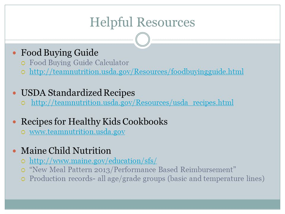 Helpful Resources Food Buying Guide USDA Standardized Recipes