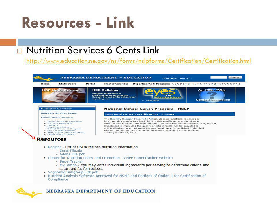 Resources - Link Nutrition Services 6 Cents Link http://www.education.ne.gov/ns/forms/nslpforms/Certification/Certification.html.